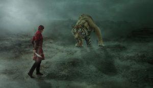 ライオンと戦う戦士